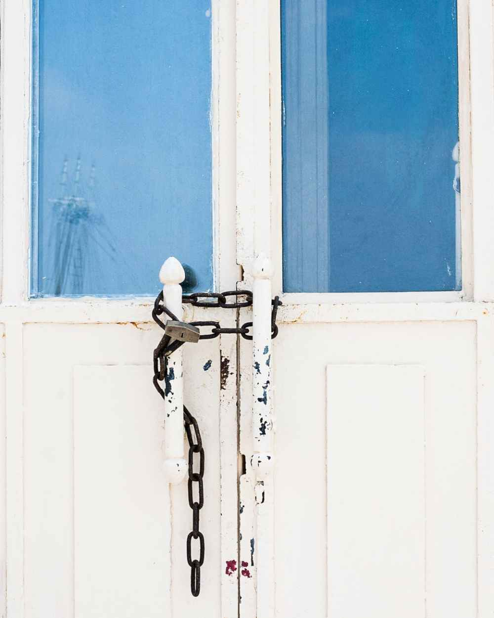 photo of locked white door